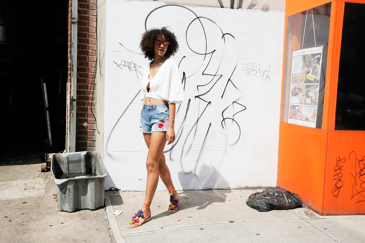 Free People shirt ($68), Zara shorts ($35.90), Zara shoes ($89.90) (styled with Adam Selman x Le Specs sunglasses and Aurélie Bidermann necklace) = $193.80