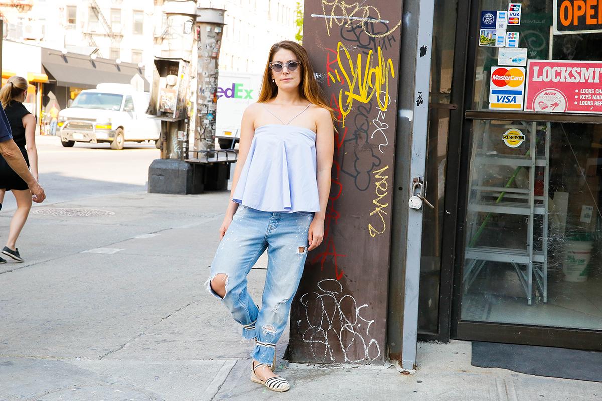 Ammara top, Zara jeans, Soludos shoes, Miu Miu sunglasses