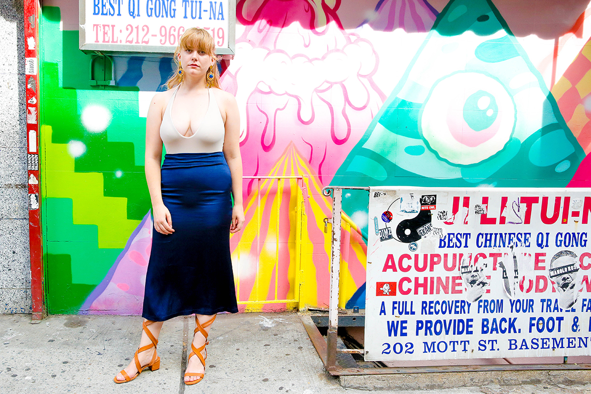 Alix halter bodysuit, Reformation skirt, Christie Nicolaides earrings, Brother Vellies shoes