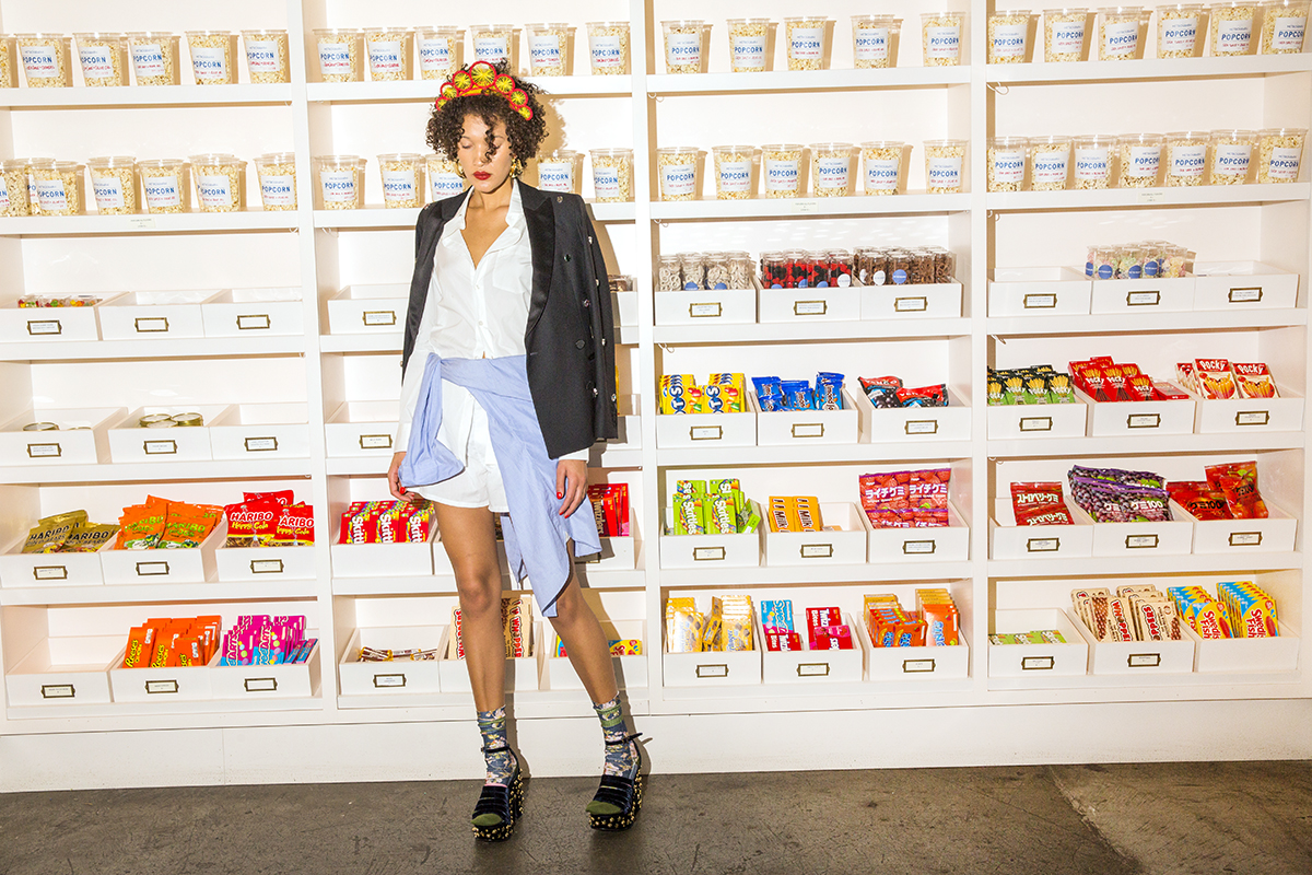 """Stance """"Blossom Wall"""" socks Styled with Racil blazer, J.Crew white shirt and blue shirt around waist, cotton men's boxers, MR by Man Repeller platforms, Annelise Michelson earrings, Magnetic Midnight headpiece"""