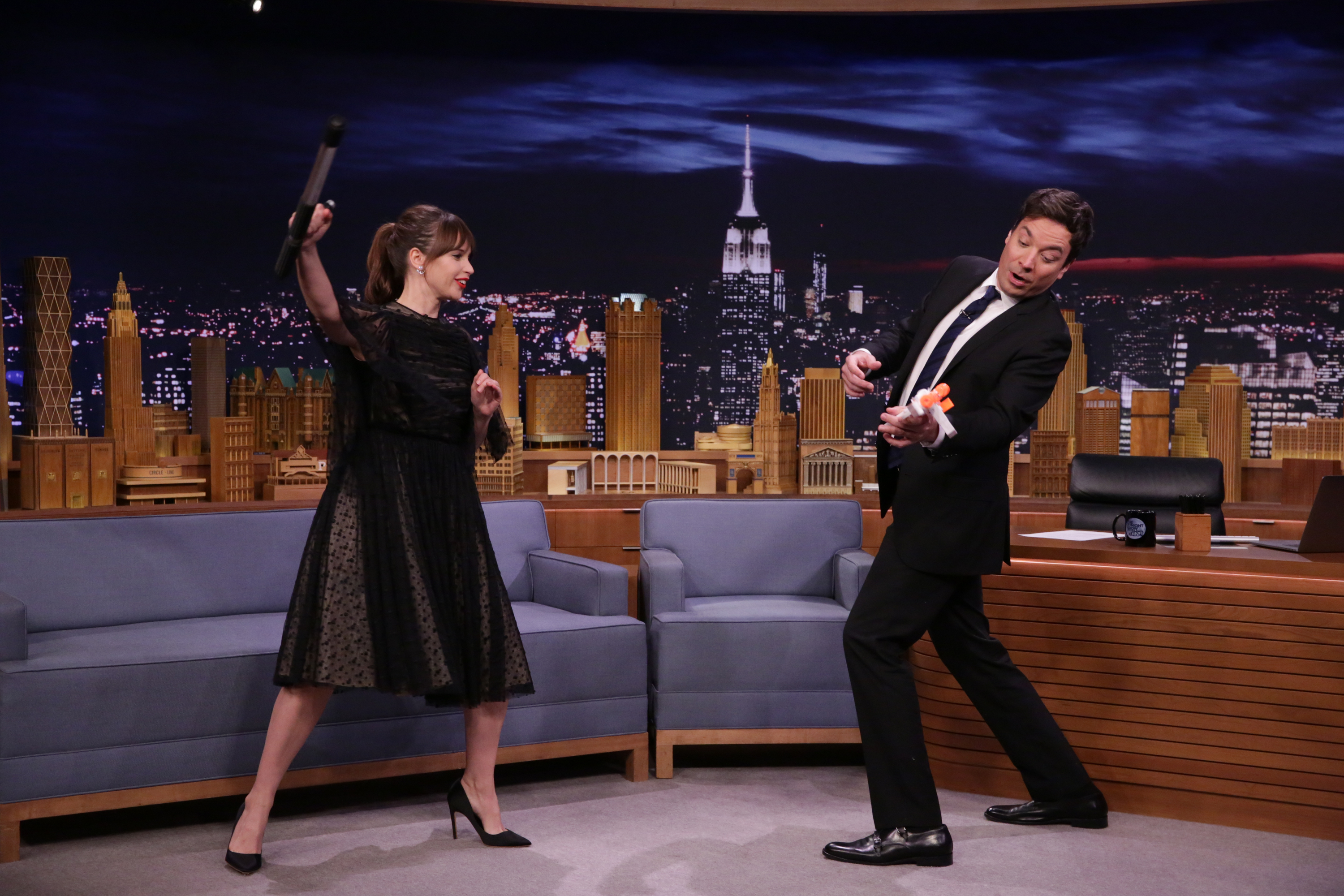 THE TONIGHT SHOW STARRING JIMMY FALLON -- Episode 0581 -- Pictured: (l-r) Actress Felicity Jones demonstrates her martial arts training during an interview with host Jimmy Fallon on November 30, 2016 -- (Photo by: Andrew Lipovsky/NBC/NBCU Photo Bank via Getty Images)