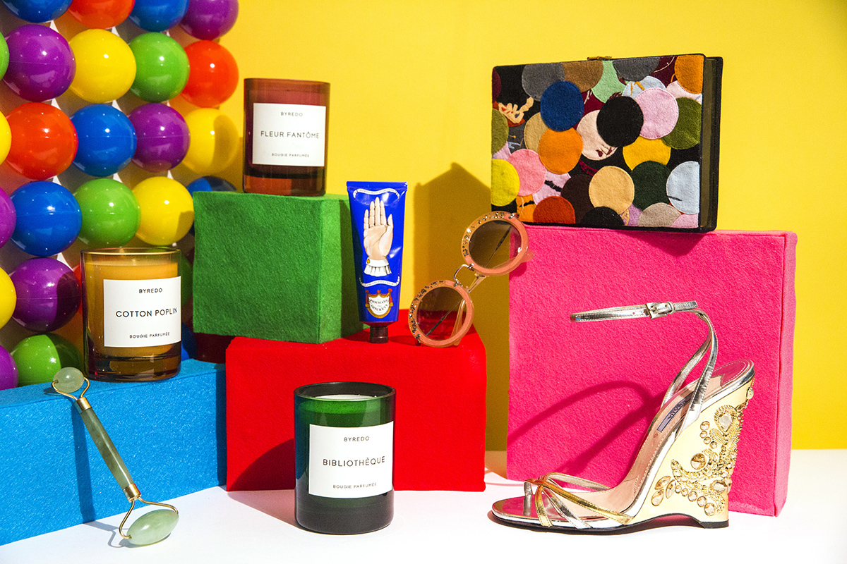 The Everlasting Gobstopper Room Byredo candles, Miu Miu round sunglasses, Buly 1803 hand balm, Prada wedge sandal, Olympia Le-Tan dotted felt clutch, Shiffa jade facial roller