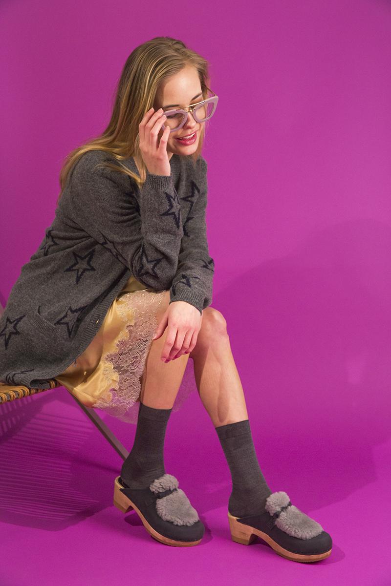 Carine Gilson lingerie dress,Chinti and Parker cardigan,No.6 shearling clogs,Falke socks,Prada glasses