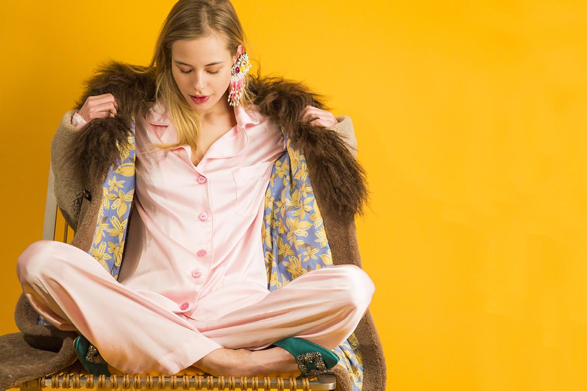 Saks Potts coat,Sleeper silk pajama set,Manolo Blahnikmules,Shouroukearrings