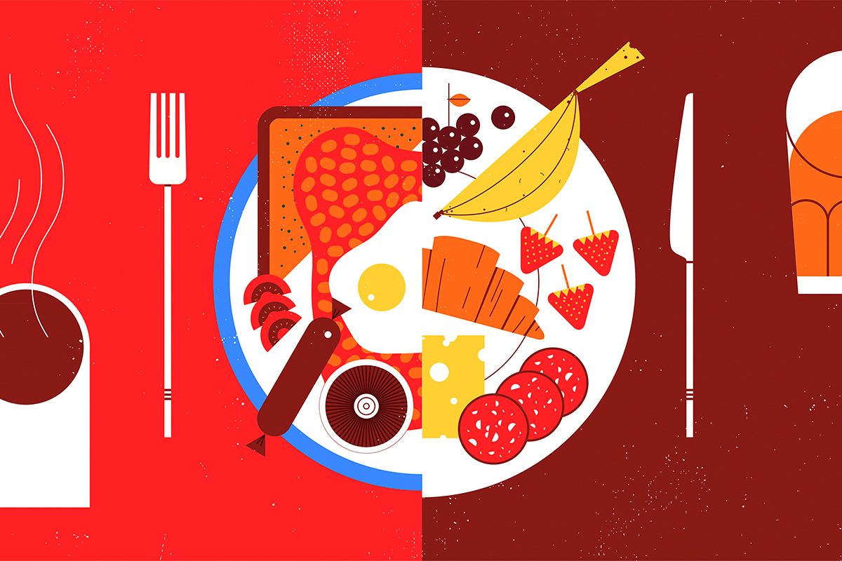 Contrast between healthy or unhealthy food for breakfast