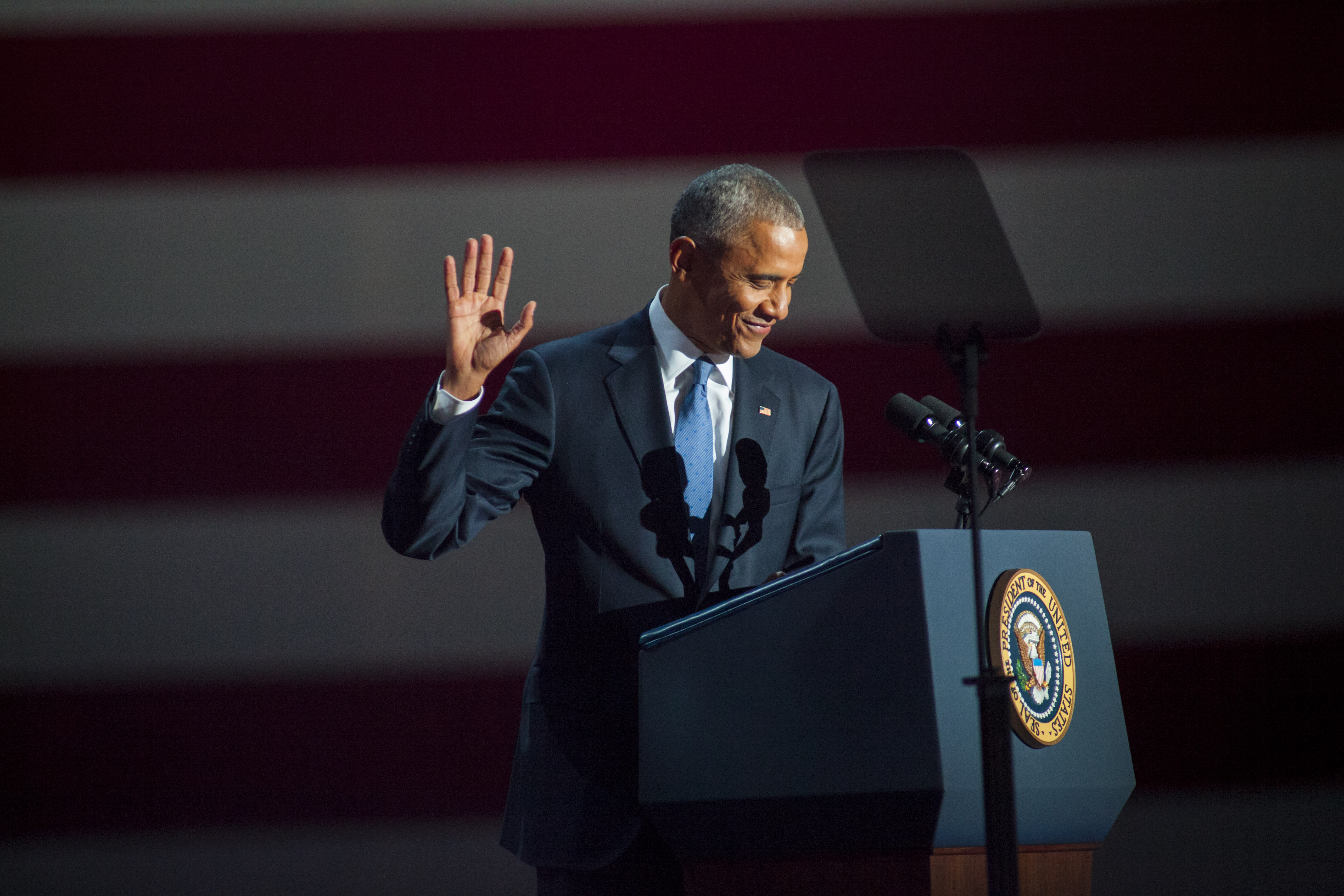 CHICAGO, IL - JANUARY 10: U.S. President Barack Obama gives his farewell speech at McCormick Place on January 10, 2017 in Chicago, Illinois. Obama addressed the nation in what is expected to be his last trip outside Washington as president. President-elect Donald Trump will be sworn in as the 45th president on January 20. (Photo by Darren Hauck/Getty Images)