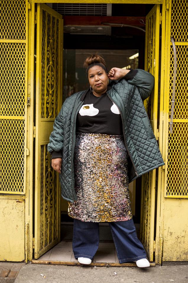 ASOS t-shirt,Eloquii sequin skirtoverLane Bryant flare jeans,Superga sneakers,Roxanne Assoulin hoop earrings
