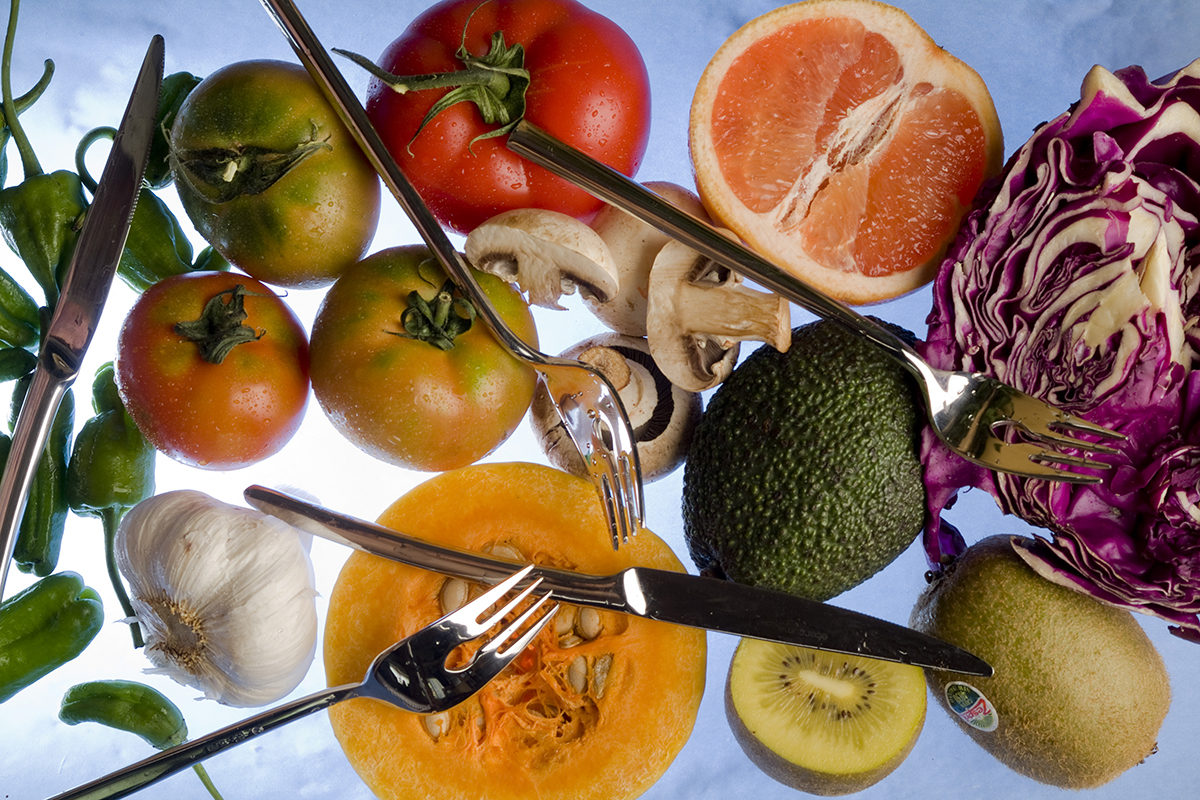 Several vegetables and fruits: grapefruit, cabbage, peppers, tomatoes, avocados, squash, garlic mushrooms and kiwis. (Photo by Jose R. Aguirre/Cover/Getty Images)