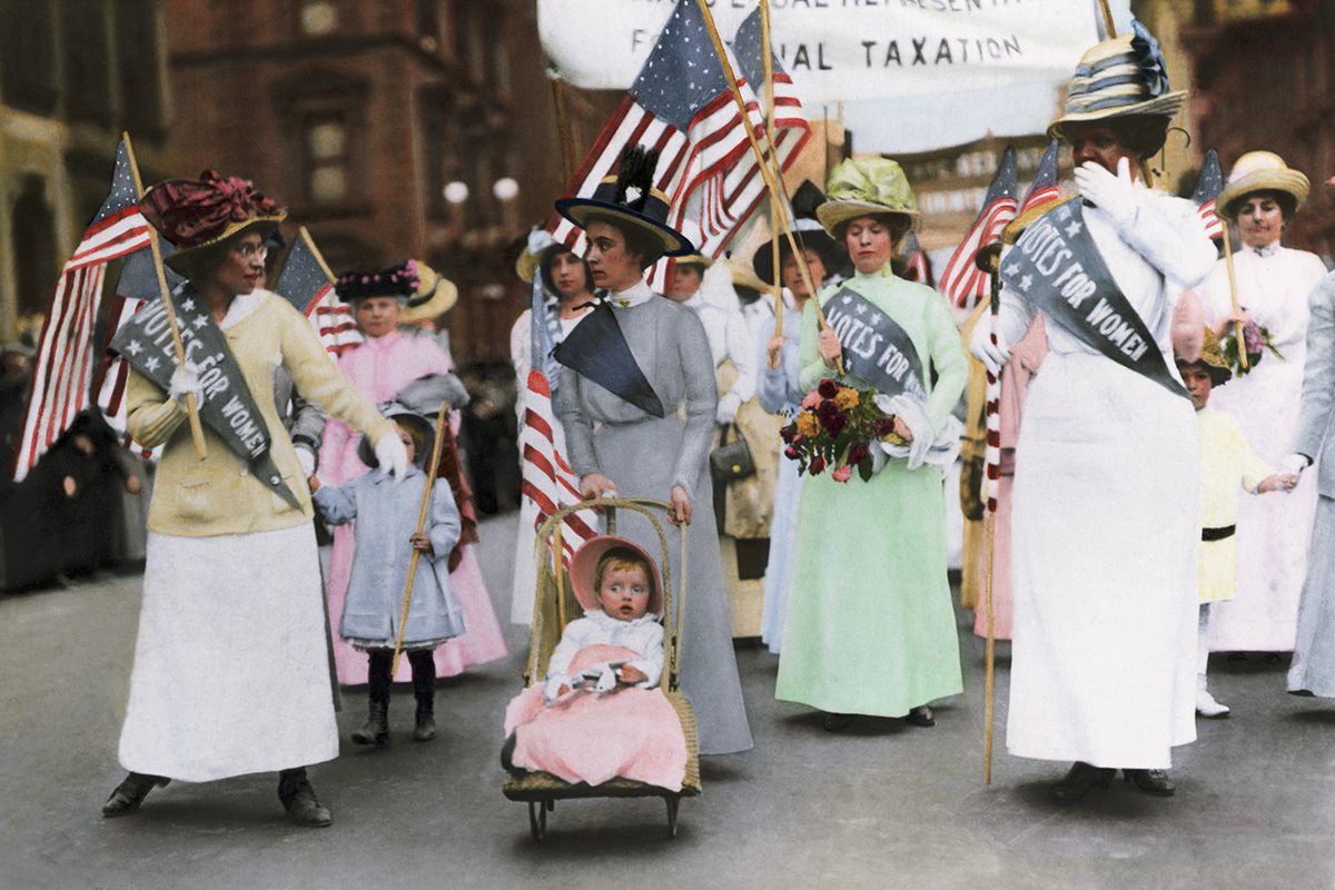 (Original Caption) American Suffragette parade in New York City, May 1912. Color Photograph. BPA 2 #6052