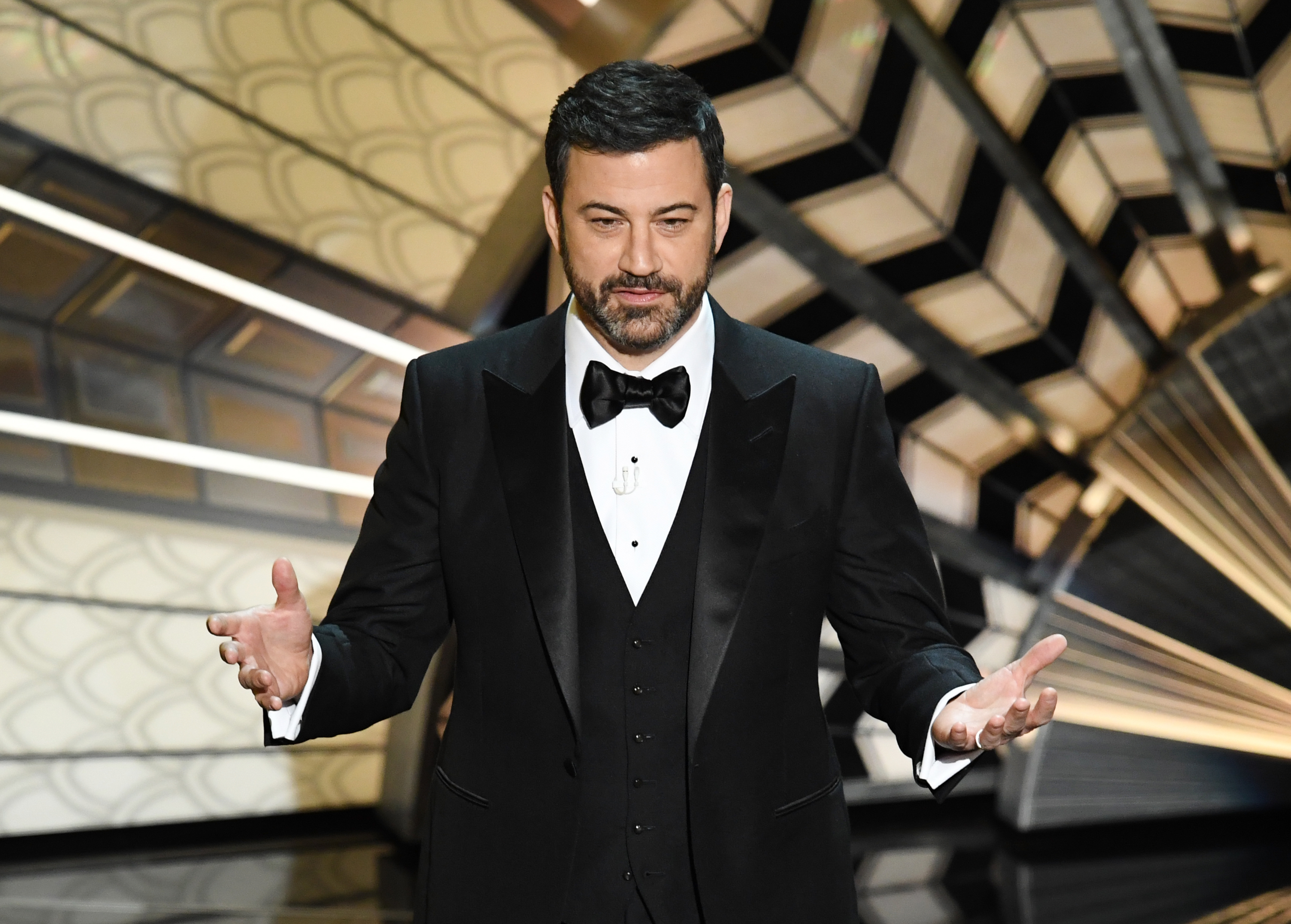 HOLLYWOOD, CA - FEBRUARY 26: Host Jimmy Kimmel onstage during the 89th Annual Academy Awards at Hollywood & Highland Center on February 26, 2017 in Hollywood, California. (Photo by Kevin Winter/Getty Images)