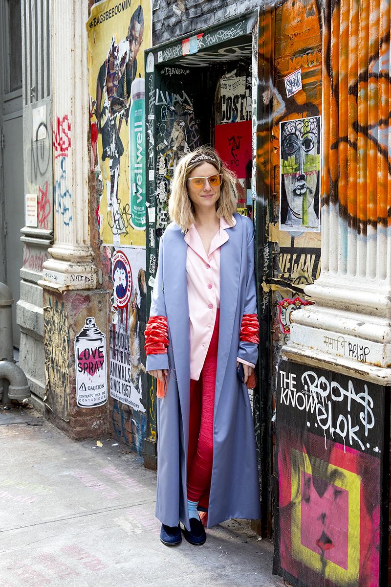 Ovâssave kimono, The Sleeper silk shirt, Outdoor Voices leggings, Erickson Beamon tiara, Rejina Pyo sunglasses, Manolo Blahnik loafers, Darner X Mona Moore velvet socks