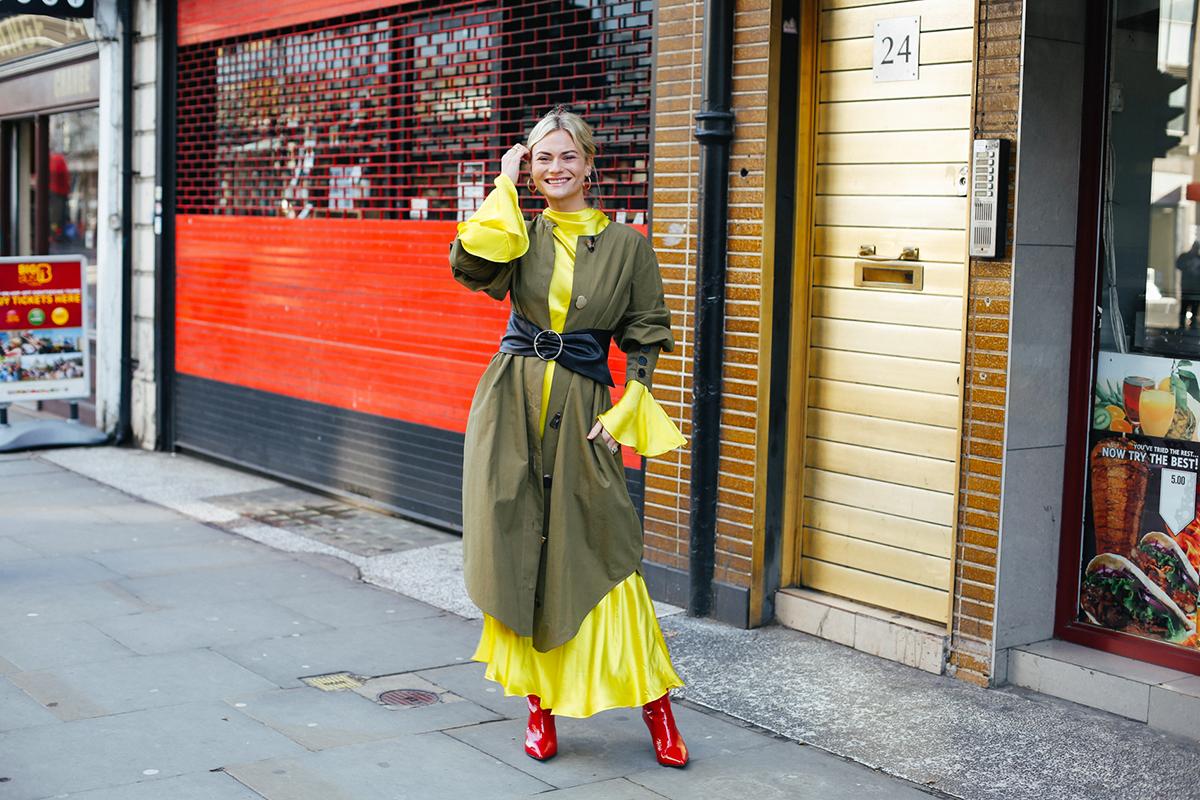 Rejina Pyo coat, Theodora Warre hoop earrings, Mango dress -- another bright dress here, Zara belt, By Malene Birger boots -- similar red boot here