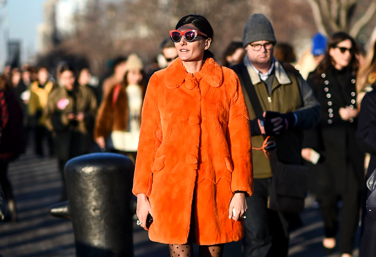 NEW YORK, NY - FEBRUARY 14: Giovanna Battaglia is seen wearing an orange coat outside the Coach show during New York Fashion Week: Women's Fall/Winter 2017 on February 14, 2017 in New York City. (Photo by Daniel Zuchnik/Getty Images)