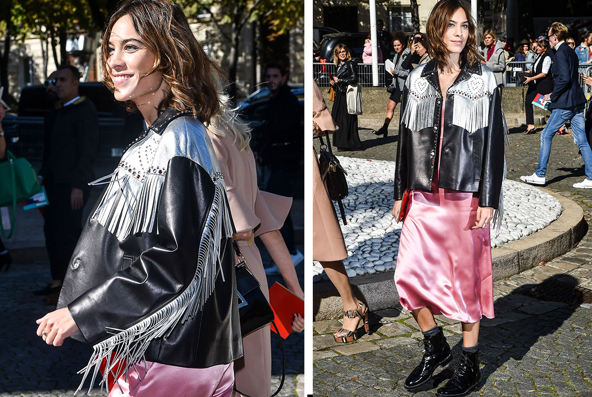 alexa-chung-street-style-outfit-fringe-jacket-slip-dress-manrepeller-fringe-jacket-and-slip-dress-side-by-side-looks