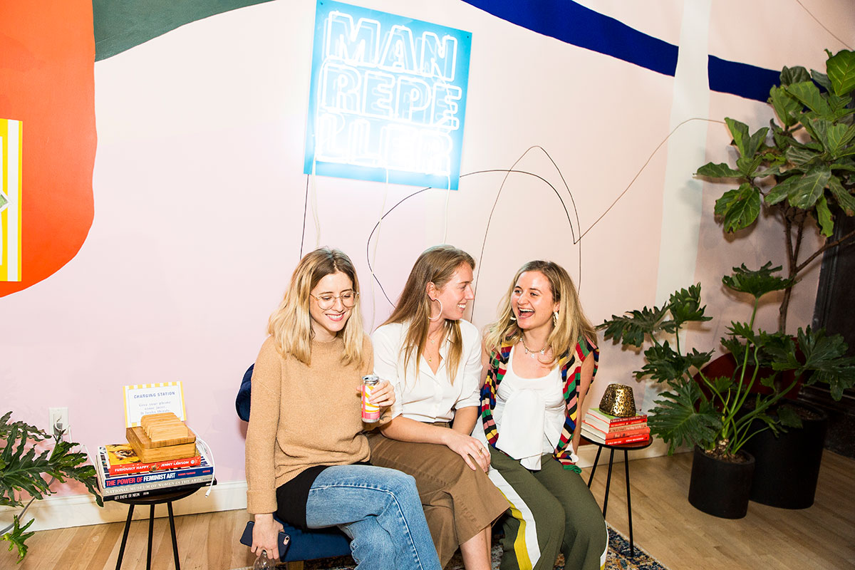 Haley Nahman, Yvonne Dunlevie and Harling Ross of team MR experiencing joy + ecstasy + love.