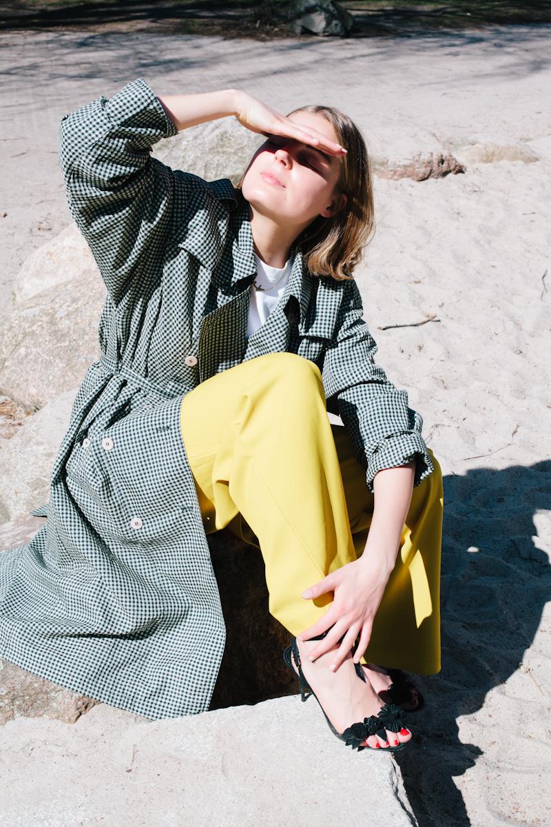 Vintage trench coat -- similar here, Tibi trousers via MATCHESFASHION.com, Pré Studios t-shirt, Sophia Webster sandals