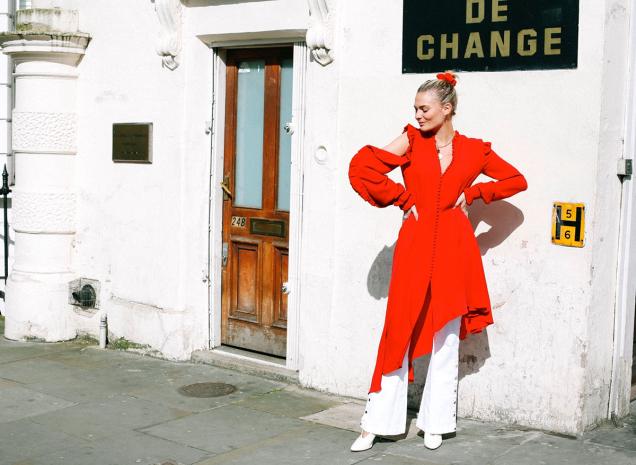 Magda Butrym dress, Mango jeans, Foundrae necklace, Lanvin heels, American Apparel scrunchie -- similar here