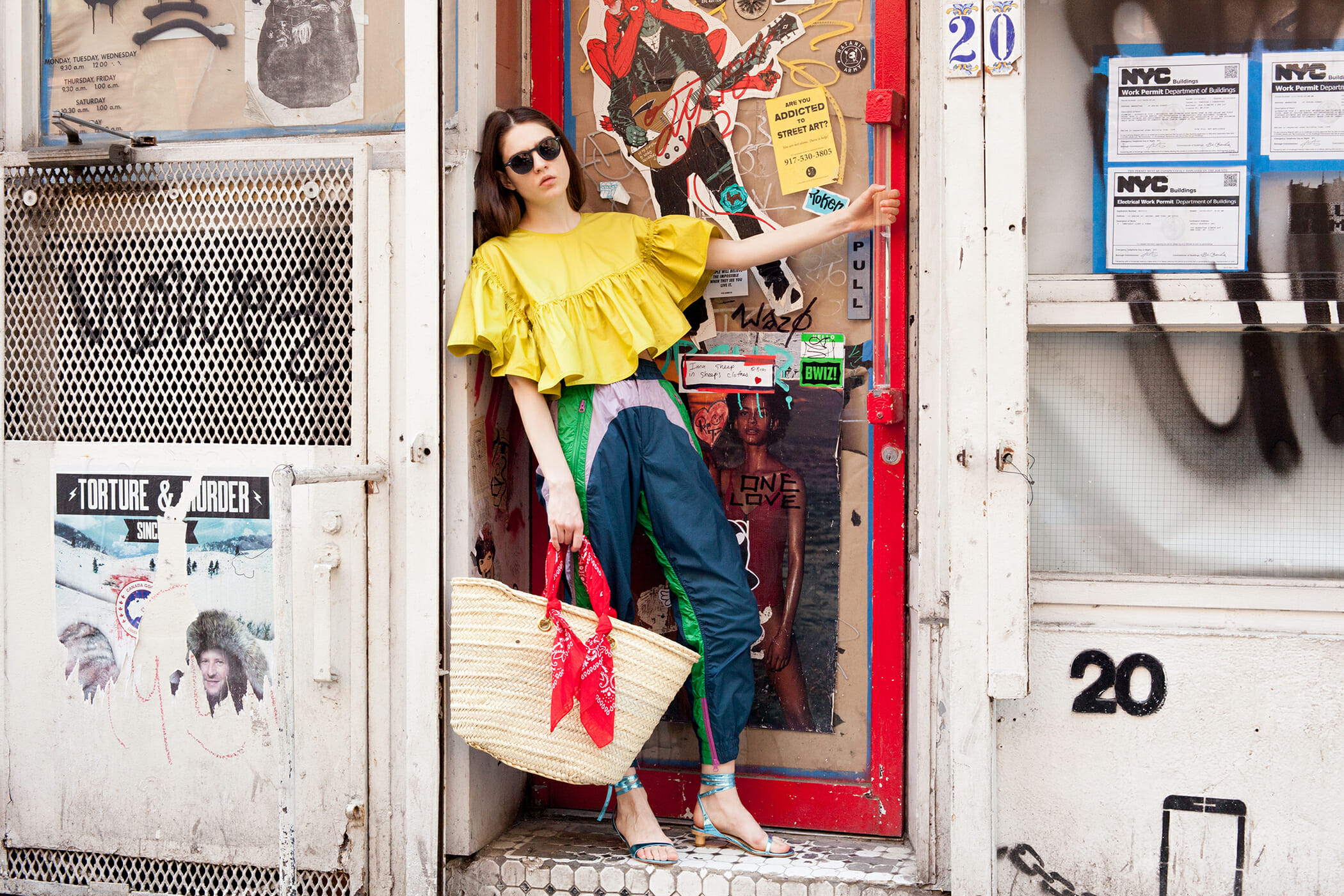 Leandra Medine Cohen styled sweatpants with fancy shoes.