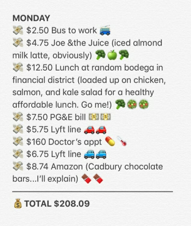 A Healthcare Consultant keeps a money diary while in San Francisco