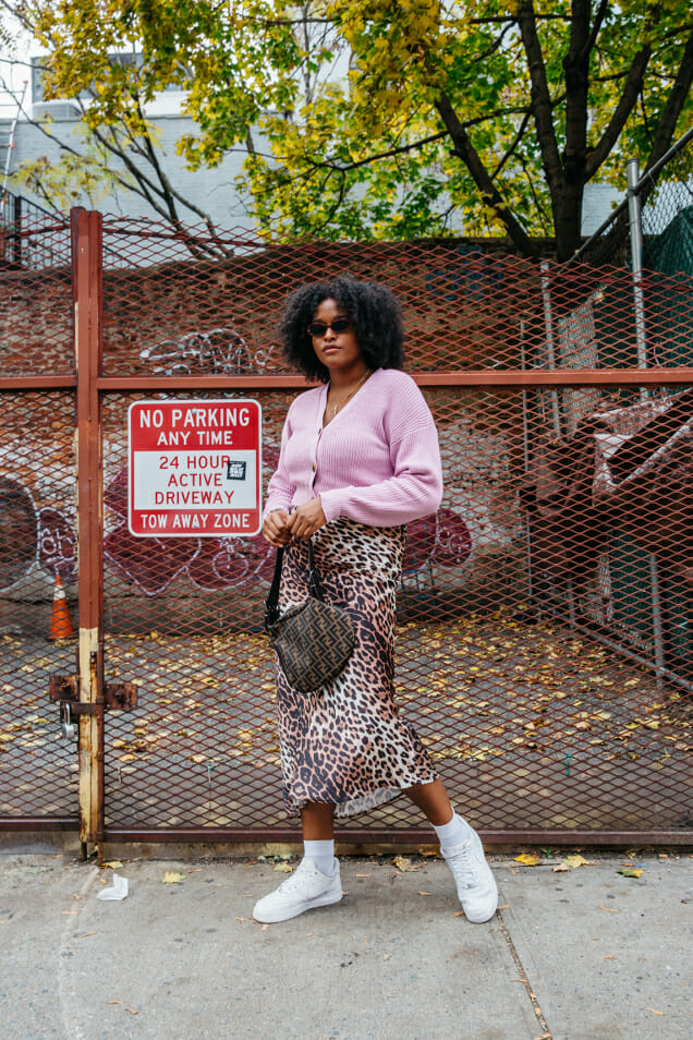 pink ribber cardigan leopard skirt nike shoes fendi handbag