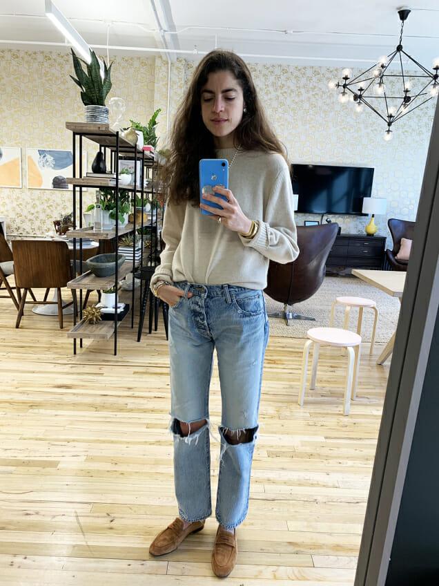 leandra medine cohen jeans mirror selfie
